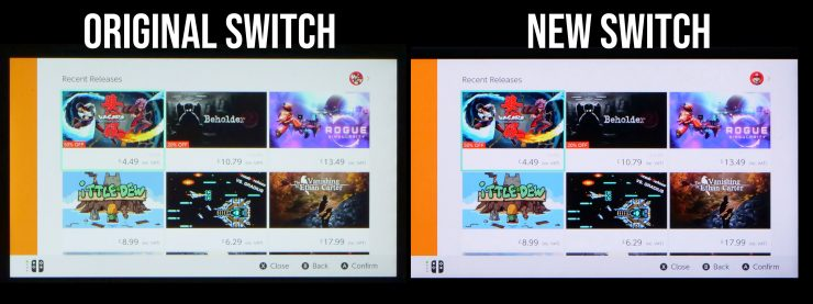 Pantalla de la Nintendo Switch vs Nueva Nintendo Switch