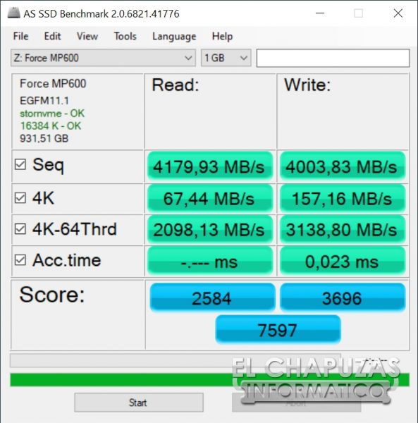 Corsair MP600 - AS SSD Benchmark