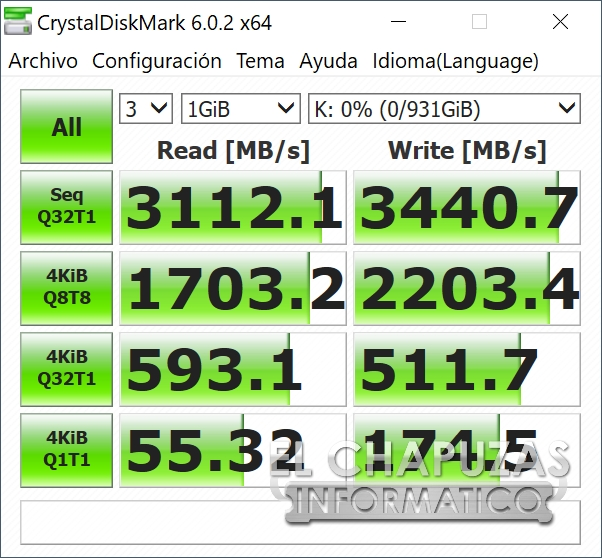 Corsair MP600 - CrystalDiskMark Intel