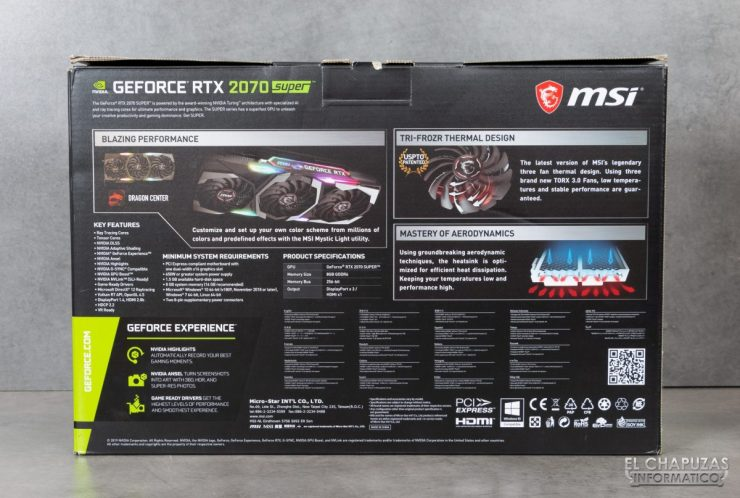 MSI GeForce RTX 2070 SUPER Gaming X Trio - Embalaje exterior 2