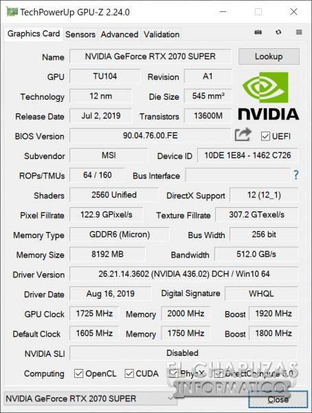 MSI GeForce RTX 2070 SUPER Gaming X Trio - GPU-Z Overclocking