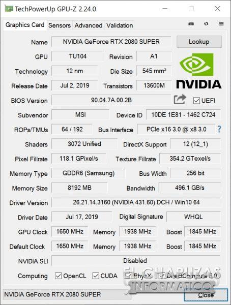 MSI GeForce RTX 2080 SUPER Gaming X Trio - GPU-Z