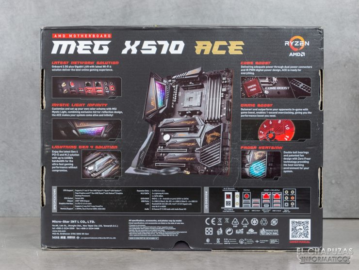 MSI MEG X570 ACE - Embalaje trasero