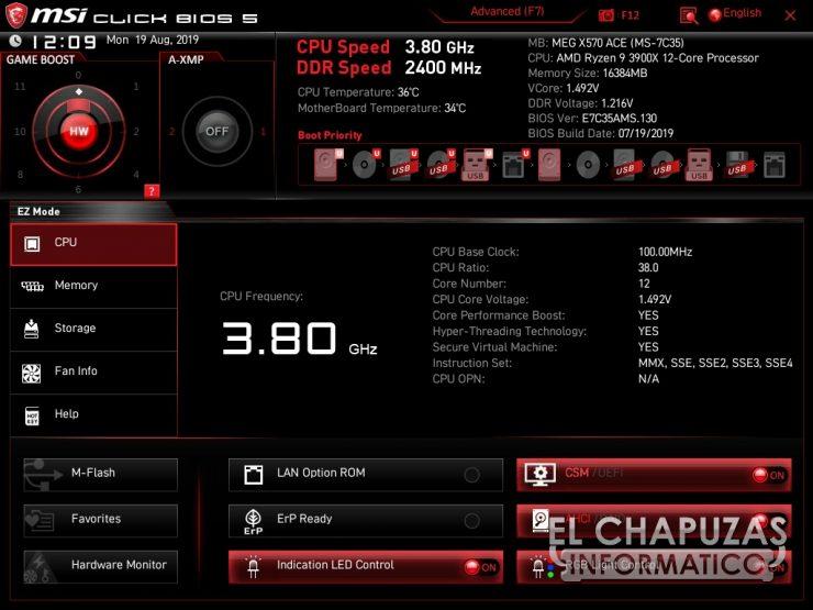 MSI MEG X570 ACE - BIOS
