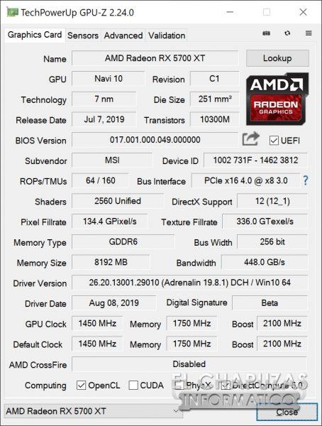 MSI Radeon 5700 XT Evoke - GPU-Z