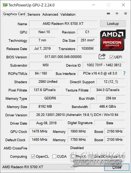 MSI Radeon 5700 XT Evoke - GPU-Z OC