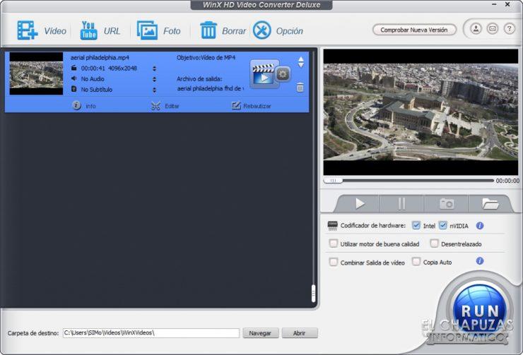WinX HD Video Converter Deluxe - Video cargado