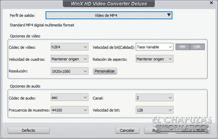 WinX HD Video Converter Deluxe - Detalles de salida de video