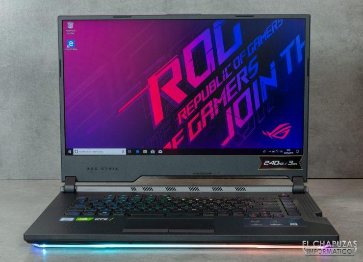 Asus ROG Strix SCAR III G531GW - Vista abierto de las tiras RGB