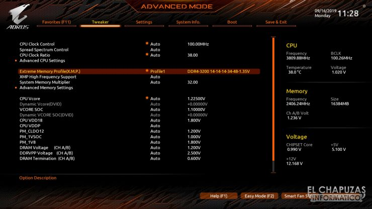 Gigabyte X570 Aorus Pro - BIOS Advance Mode
