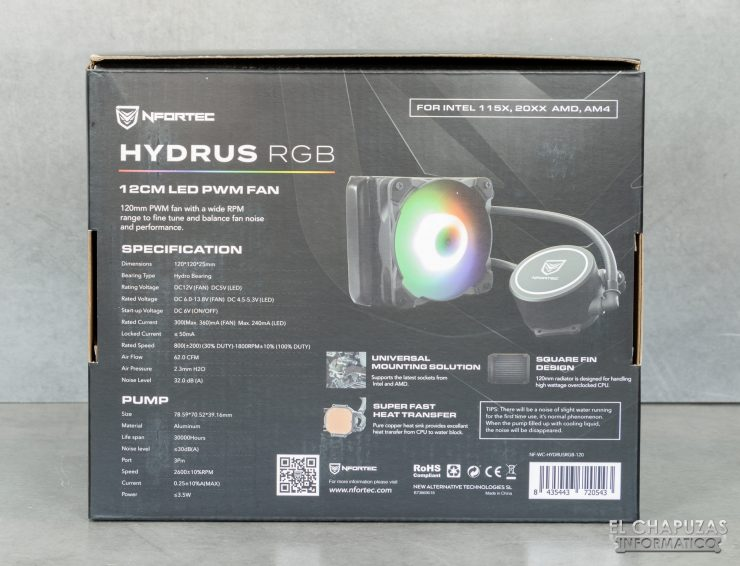 Nfortec Hydrus RGB 120 - Embalaje posterior