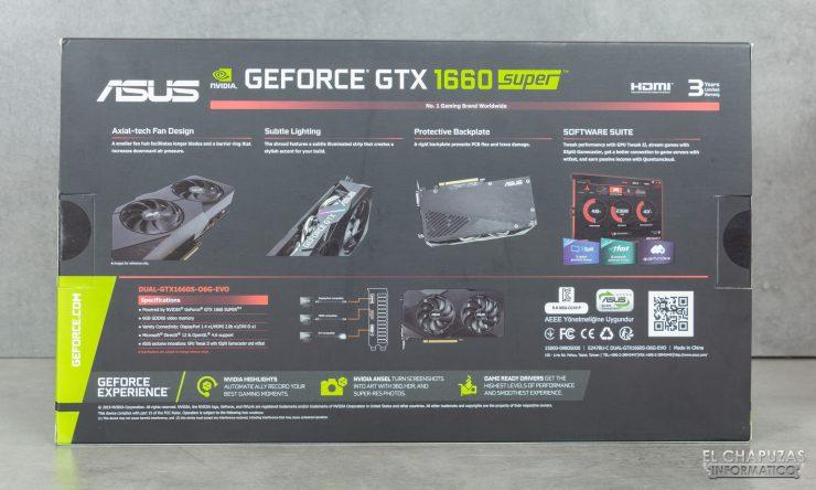 Asus GeForce GTX 1660 SUPER DUAL OC - Embalaje trasero