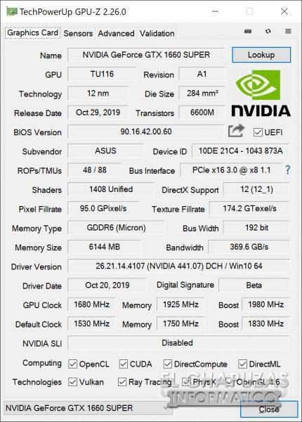 Asus GeForce GTX 1660 SUPER DUAL OC - GPU-Z OC