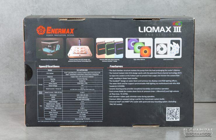 Enermax Liqmax III RGB 240 - Embalaje trasero
