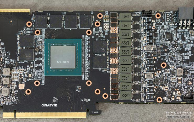 Gigabyte GeForce RTX 2080 SUPER Gaming OC 8G - Detalle núcleo, memorias y VRM