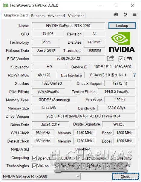 HP Omen 15-dh0001ns - GPU-Z