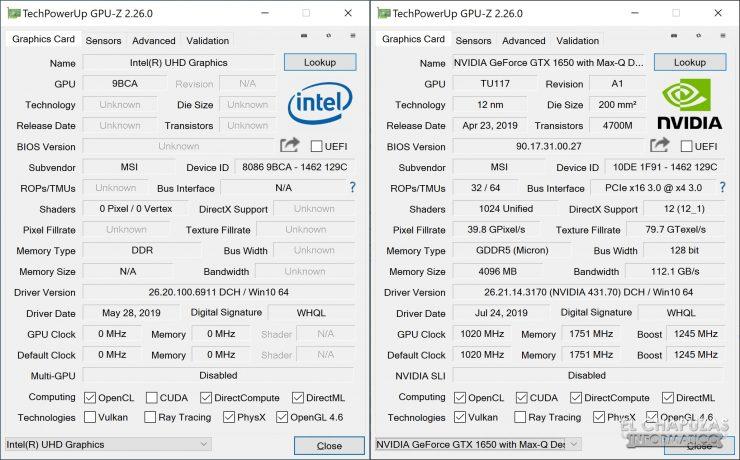 MSI Prestige 15 - GPU-Z