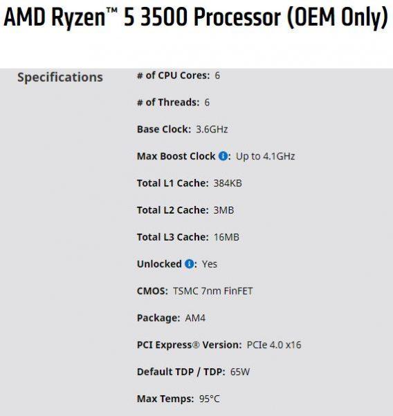 Especificaciones Ryzen 5 3500