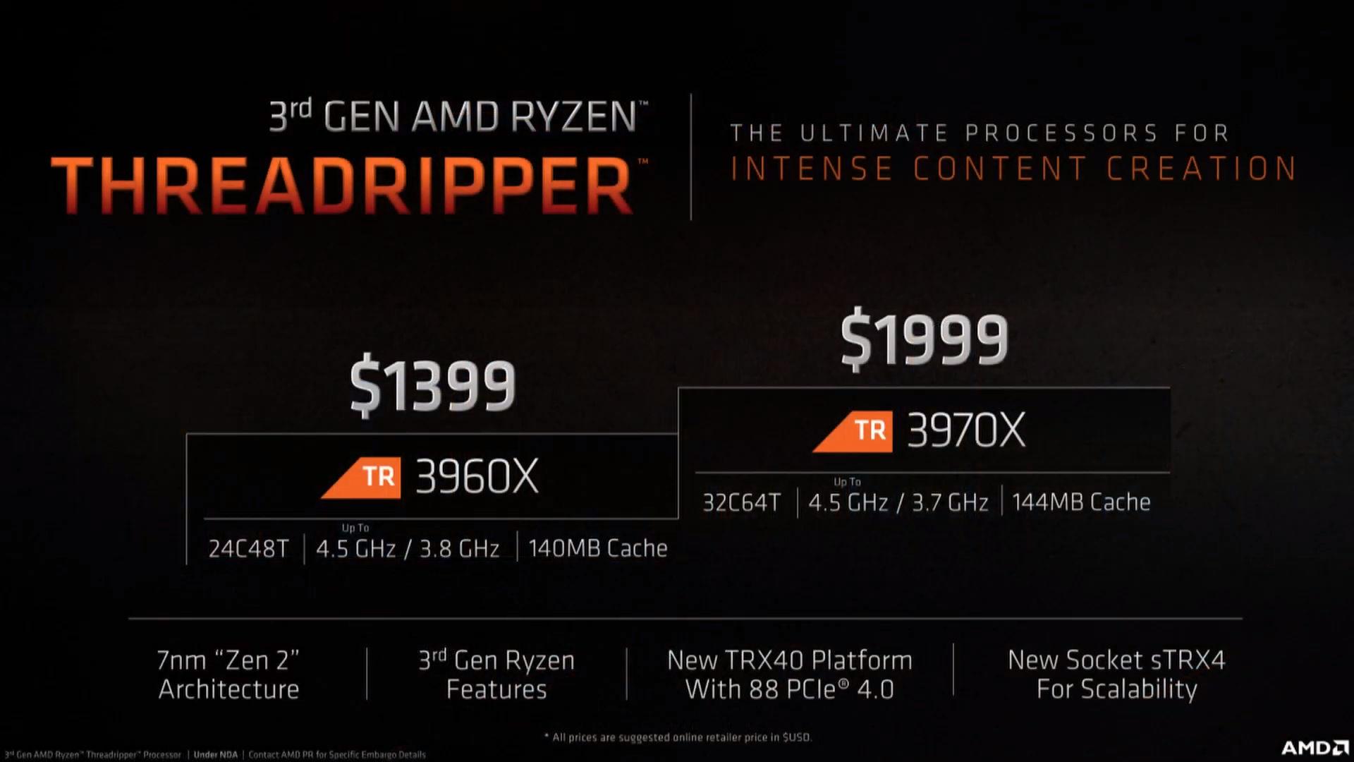 Amd Ryzen Threadripper 3970x Y Ryzen Threadripper 3960x 32