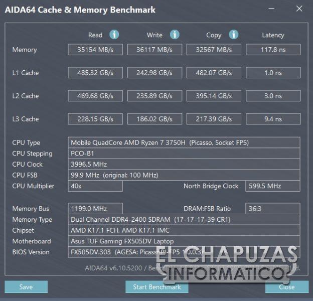 Asus TUF Gaming FX505DD - Aida64