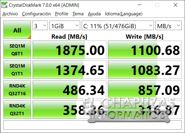 Asus TUF Gaming FX505DD - CrystalDiskMark