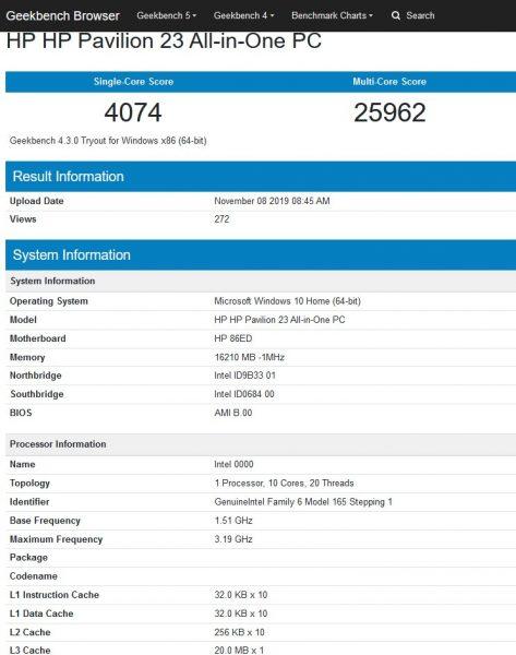 Intel Comet Lake S 10 nucleos benchmark Geekbench 473x600 1