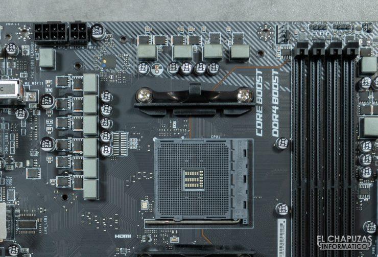 MSI MPG X570 Gaming Edge Wi-Fi - Sección superior sin carenado