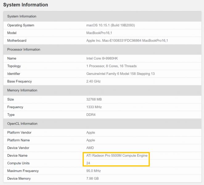 MacBook Pro 16.1 pulgadas en Geekbench 662x600 0
