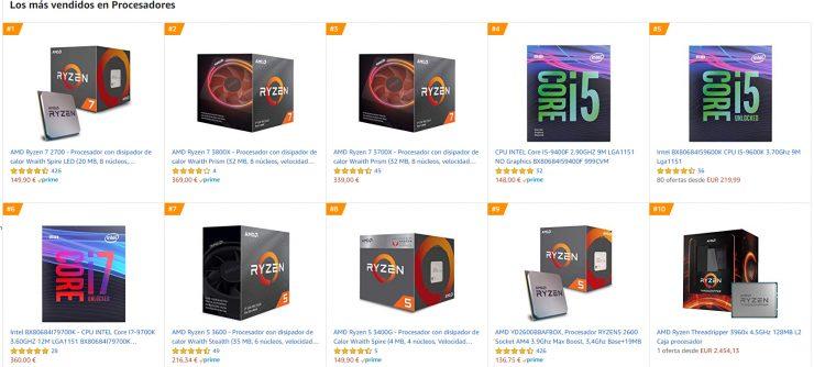 CPUs más vendidas en Amazon España
