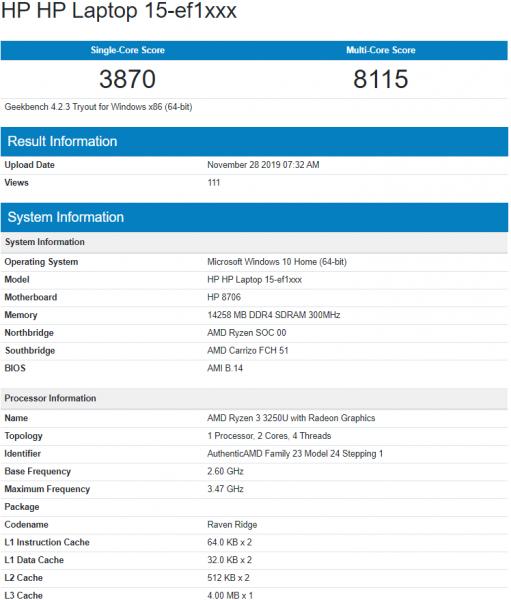 AMD Ryzen 3 3250U en Geekbench 511x600 0