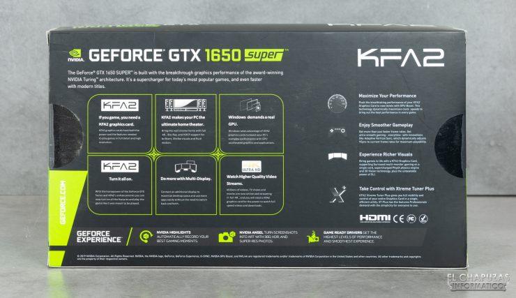 KFA2 GeForce GTX 1650 SUPER EX - Embalaje trasero
