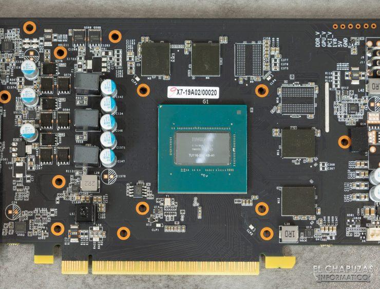 KFA2 GeForce GTX 1650 SUPER EX - Detalle núcleo, memorias y VRM