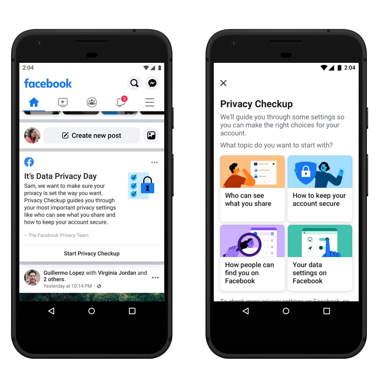 ajustes de privacidad de Facebook
