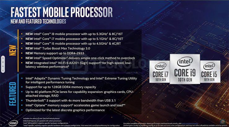 Intel 10th Gen Core Comet Lake H Features 740x413 1