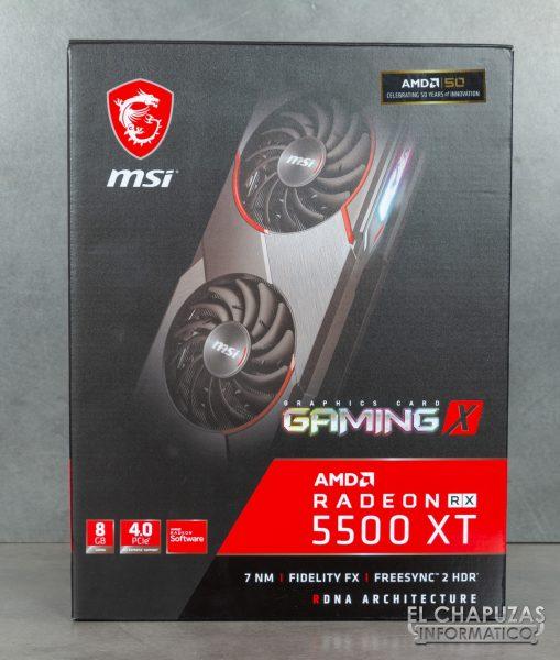 MSI Radeon RX 5500 XT Gaming X 8GB - Embalaje frontal