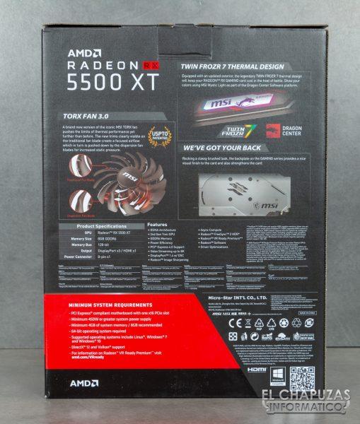MSI Radeon RX 5500 XT Gaming X 8GB - Embalaje trasero