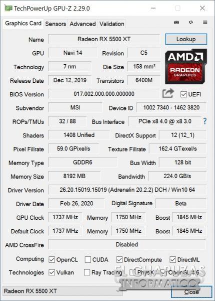 MSI Radeon RX 5500 XT Gaming X 8GB - GPU-Z