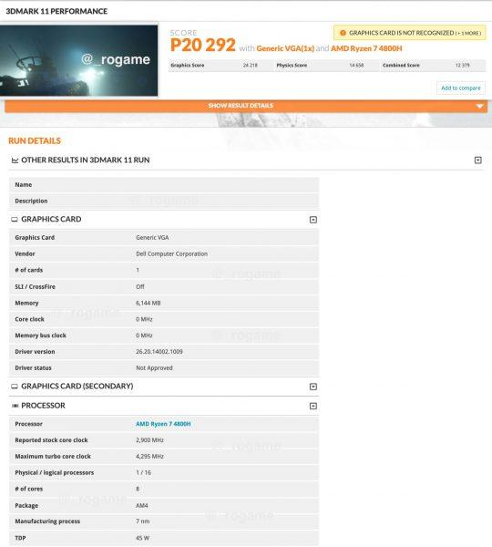 AMD Radeon RX 5600M Benchmark 3DMark 11 540x600 0