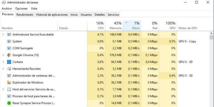 Administrador de tareas Widows 10 Uso de almacenamiento 740x372 0