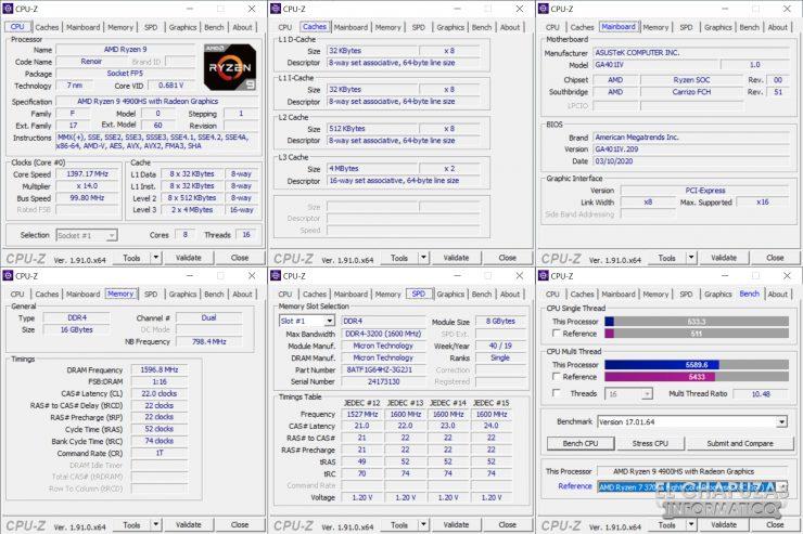 Asus ROG Zephyrus G14 - CPU-Z
