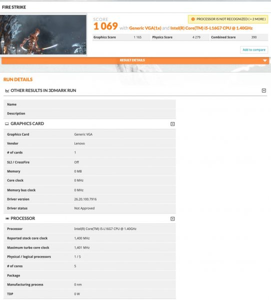 Intel Core i5 L16G7 benchmark 3DMark Fire Strike 542x600 0