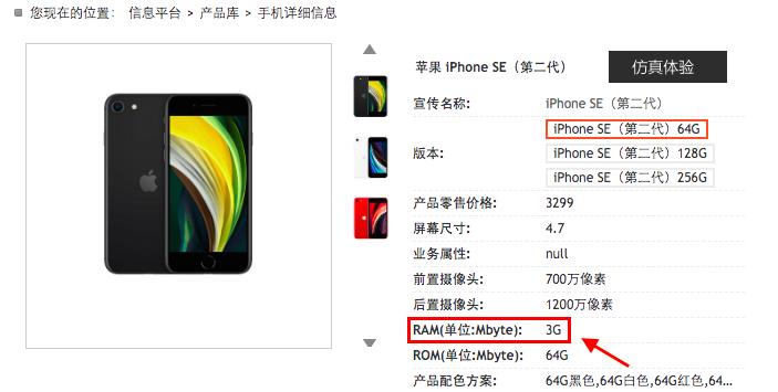 RAM iPhone SE 2020 0