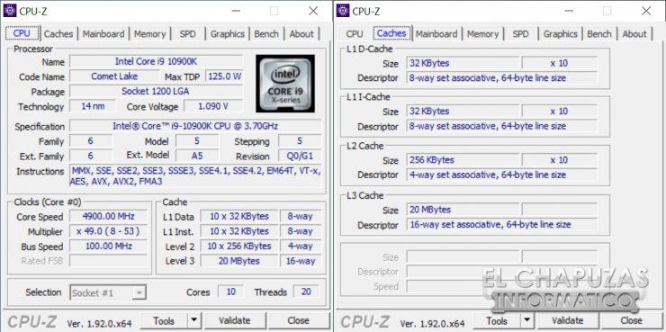 Intel Core i9-10900K - CPU-Z