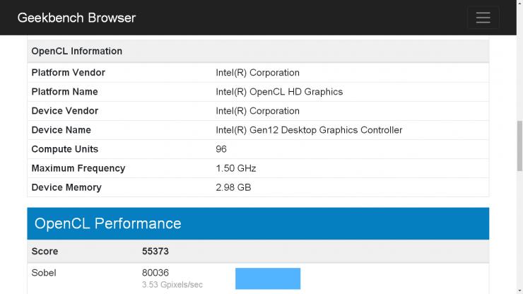 Intel Xe DG1 benchmark Geekbench 740x416 0