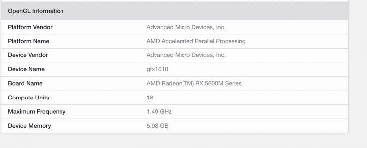 AMD Radeon RX 5600M especificaciones Geekbench 5.1 740x299 0