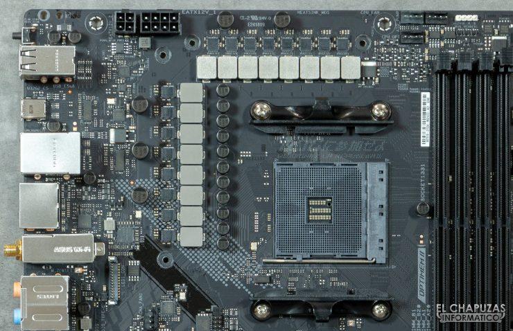 Asus ROG Strix B550-E Gaming (Wi-Fi) - Sección superior sin disipadores