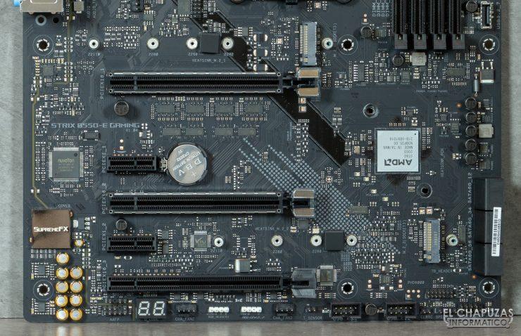 Asus ROG Strix B550-E Gaming (Wi-Fi) - Sección inferior sin disipadores