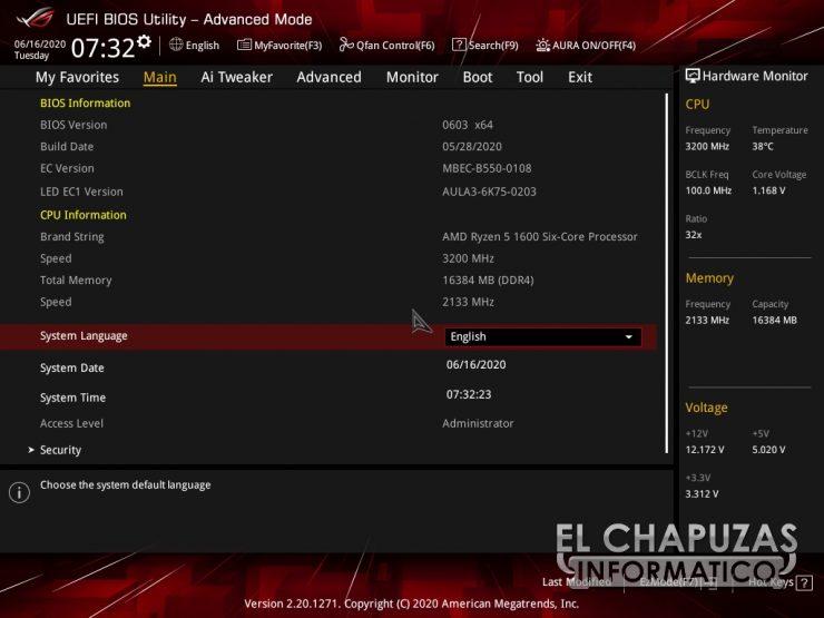 Asus ROG Strix B550-E Gaming (Wi-Fi) - BIOS 1