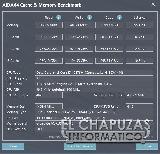 Gigabyte Aorus 17G XB - Aida64