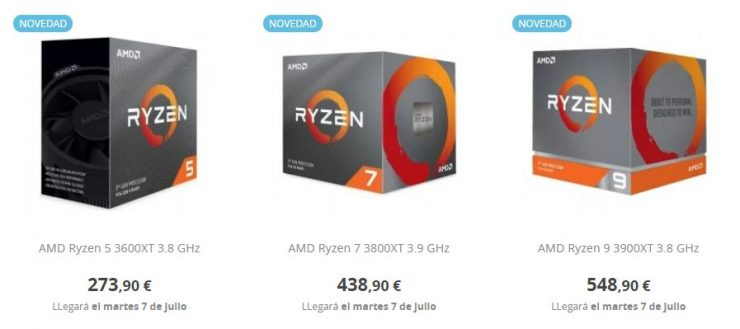 Precio AMD Ryzen 9 3900XT AMD Ryzen 7 3800XT y AMD Ryzen 5 3600XT 740x329 1